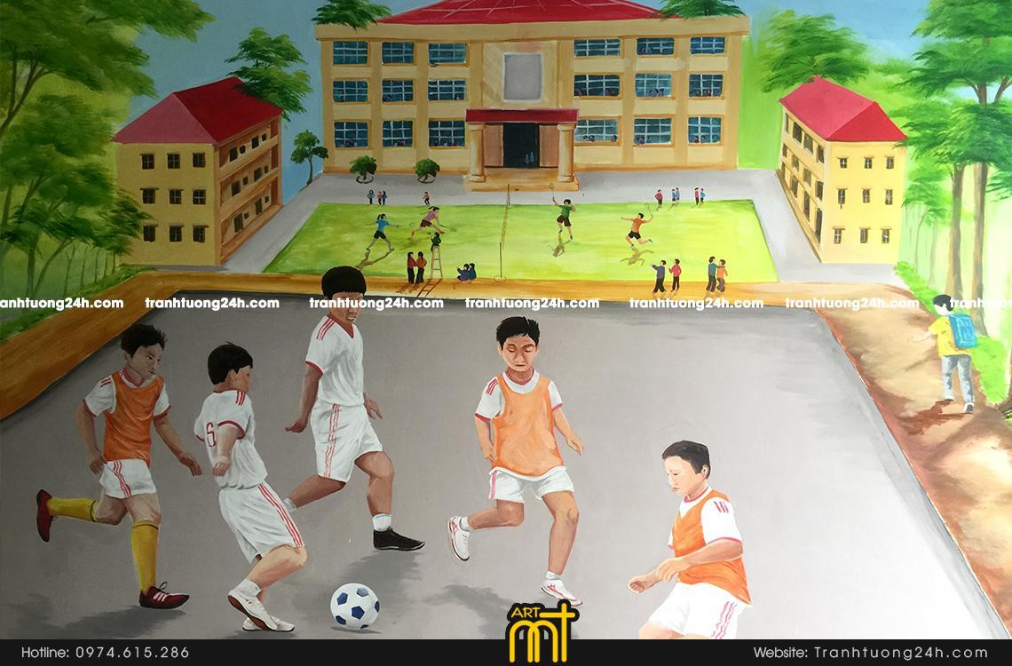 Vẽ tranh tường trường thcs Phú La, Văn Phú, Hà Đông