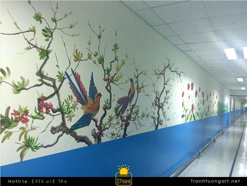 Vẽ điểm hoa lá, trang trí văn phòng