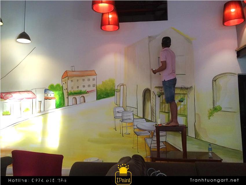 Vẽ tranh tường quán cafe 911