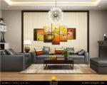 Thiết kế nội thất bằng tranh bộ hoa sen