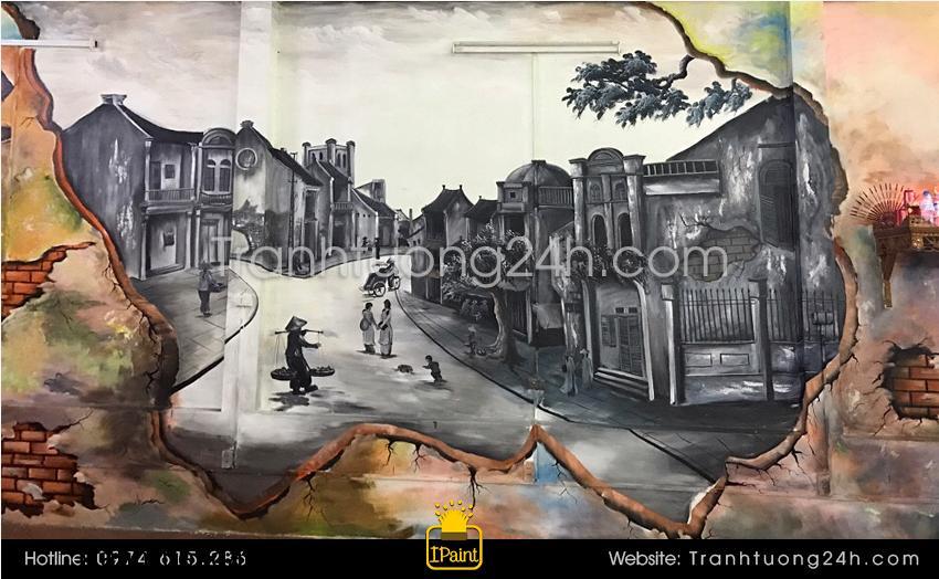 Vẽ tranh 3D phố cổ, Tranh Tường 24h