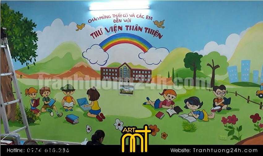 Vẽ tranh tường trường tiểu học Cát Linh, HN