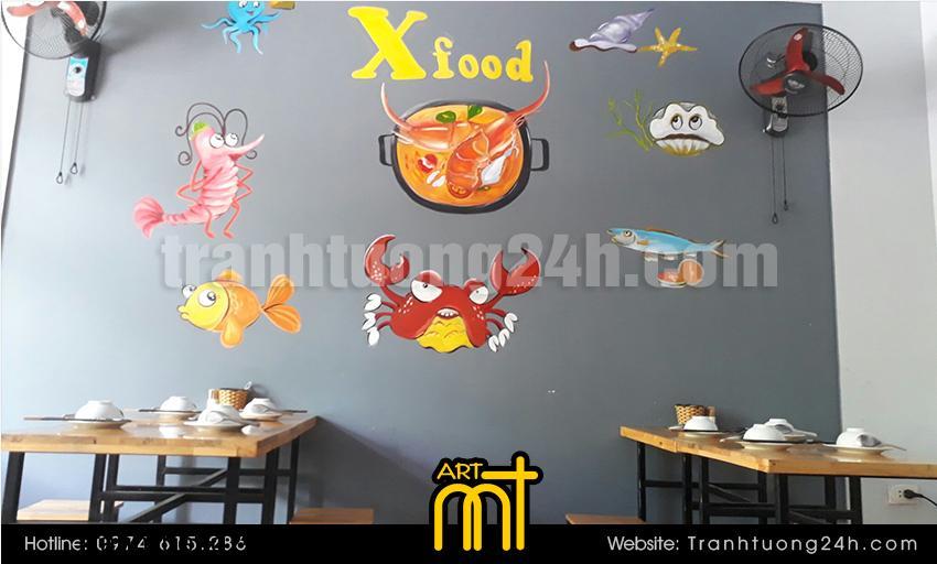 Vẽ tranh tường nhà hàng X-Food
