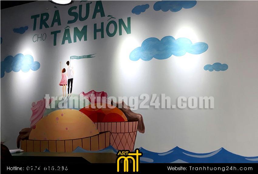 Vẽ tranh tường quán trà sữa Taster's Choice