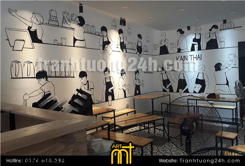 Vẽ tranh tường quán trà sữa Kain Thai