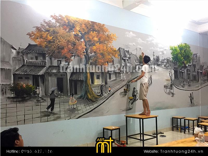 Vẽ tranh tường quán Subin: Trà sữa & Kem