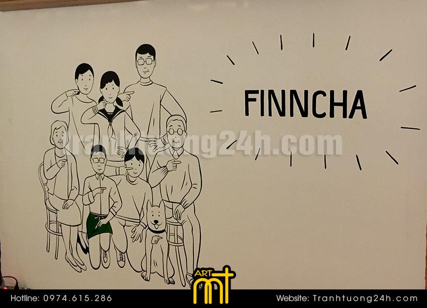 Vẽ tranh tường quán trà sữa Finncha