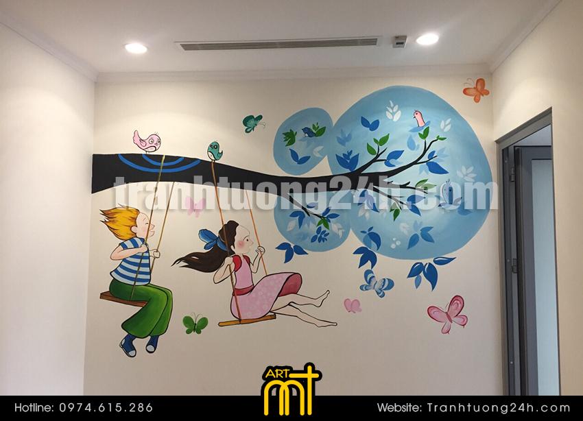 Vẽ tranh tường phòng bé trai và gái