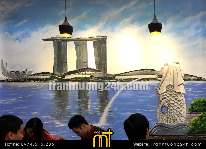 Vẽ tranh tường trà sữa YinYong